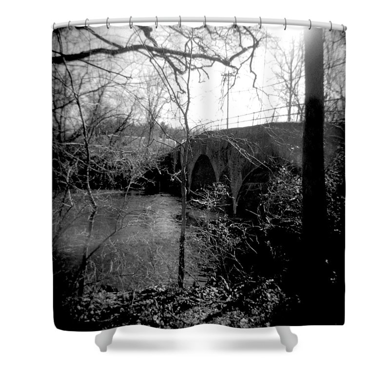 Photograph Shower Curtain featuring the photograph Boiling Springs Bridge by Jean Macaluso