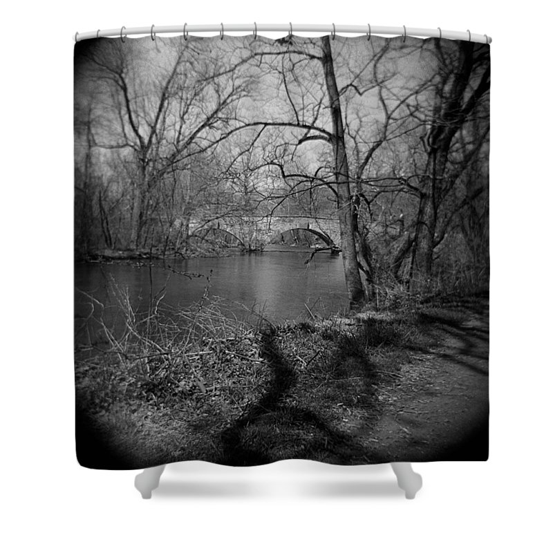 Photograph Shower Curtain featuring the photograph Boiling Springs Stone Bridge by Jean Macaluso