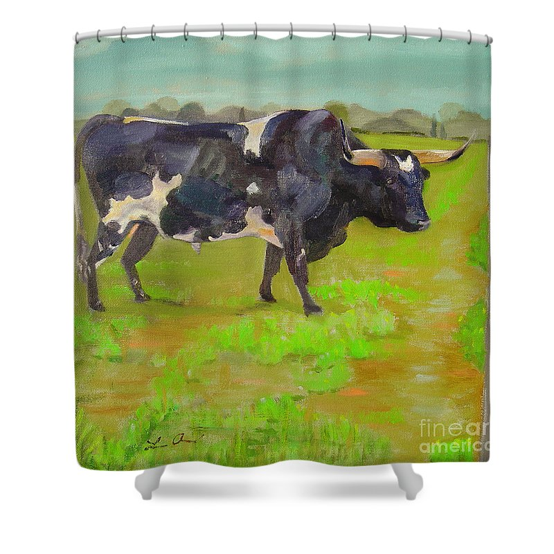 Southwest Shower Curtain featuring the painting Bold Beauty by Lilibeth Andre