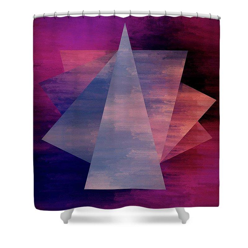Brandi Fitzgerald Shower Curtain featuring the digital art Bold Fuchsia And Blue Triangles by Brandi Fitzgerald