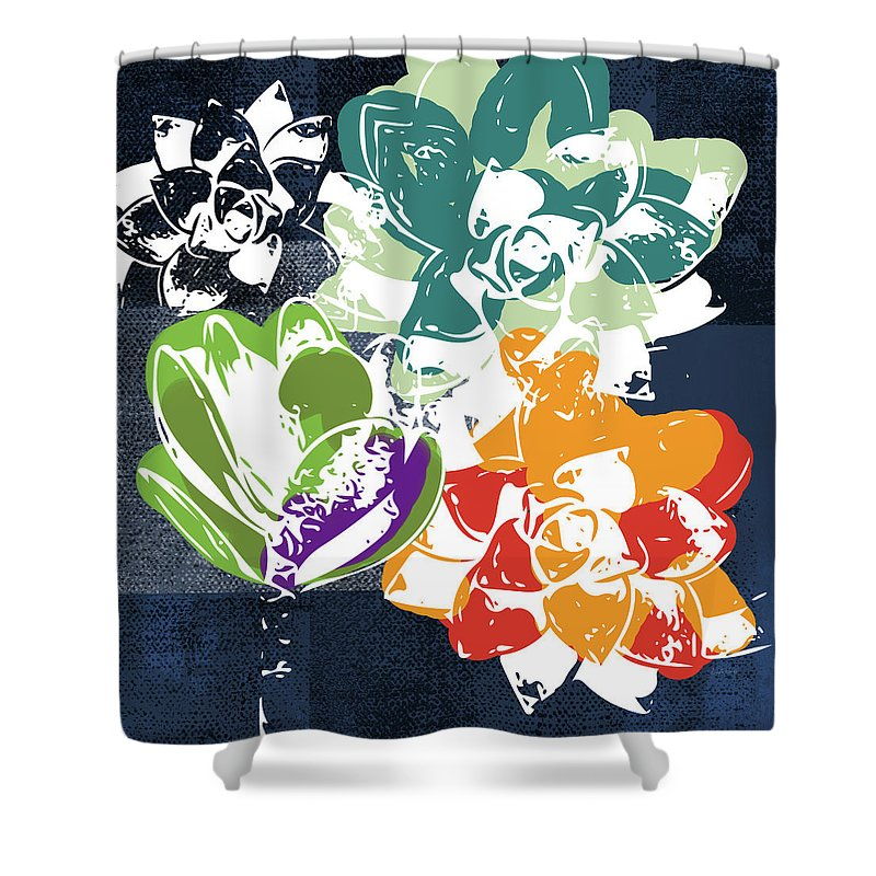 Succulents Shower Curtain featuring the mixed media Bold Succulents 1- Art By Linda Woods by Linda Woods
