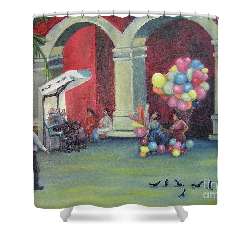 Mexico Shower Curtain featuring the painting Boleo en la Plaza by Lilibeth Andre