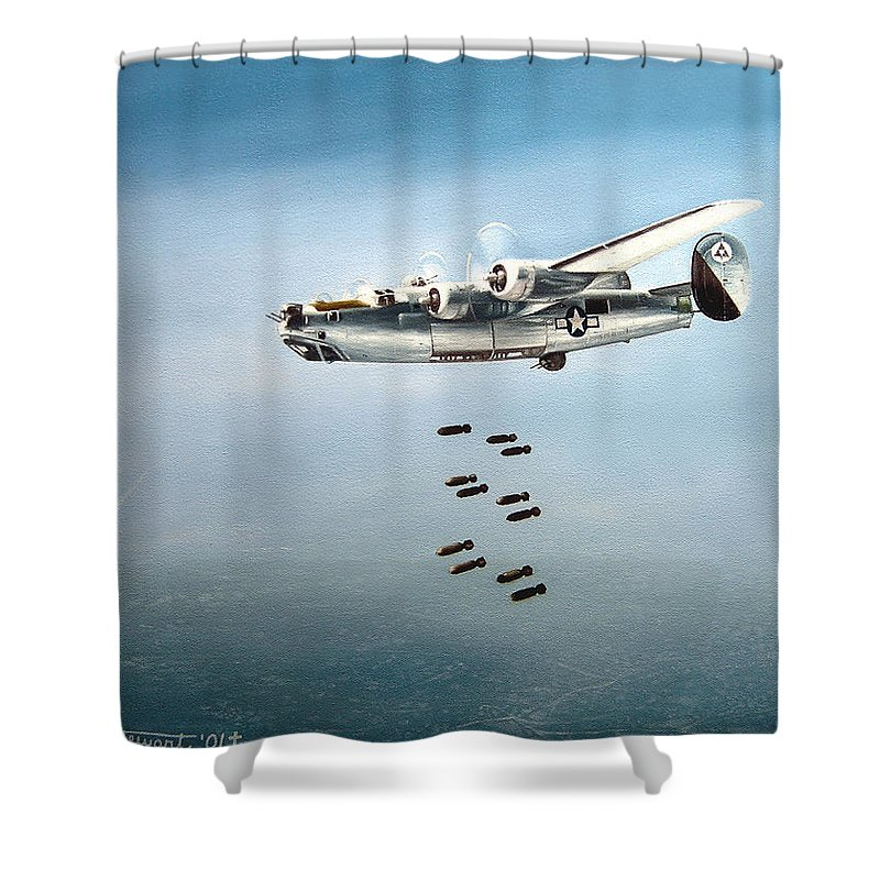 Aviation Shower Curtain featuring the painting Bombs Away by Marc Stewart