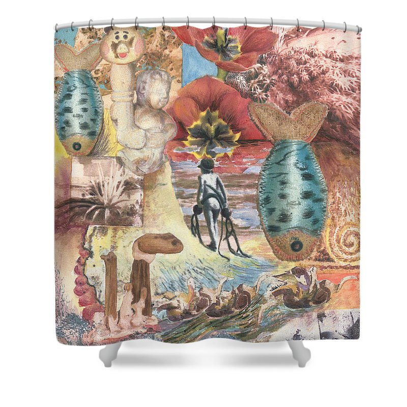 Abstract Shower Curtain featuring the digital art Bombs Away by Valerie Meotti