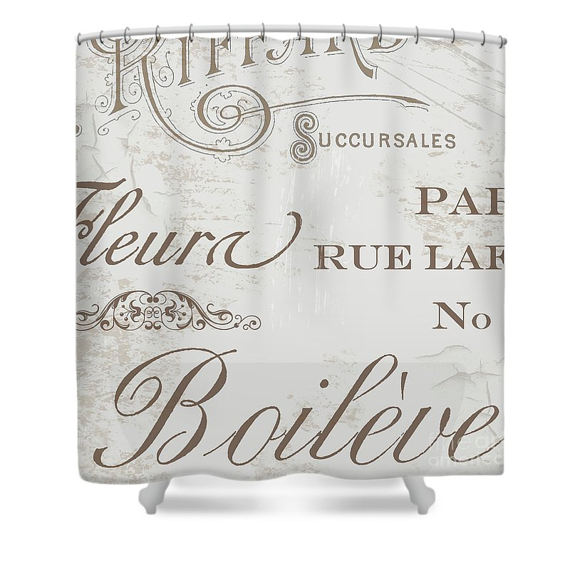 Chocolat Shower Curtain featuring the painting Bon Mots II by Mindy Sommers