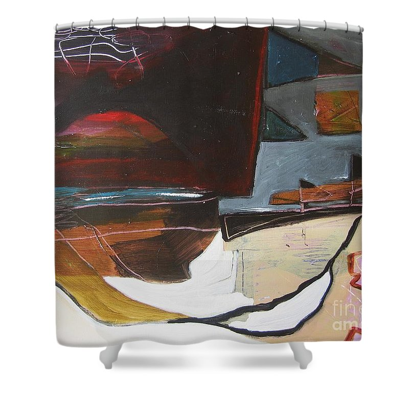 Abstract Atlantic Newfoundland Landscape Seascape Ocean Acrylic Paper Dusk Bonavista Canvas Shower Curtain featuring the painting Bonavista At Dusk by Seon-Jeong Kim
