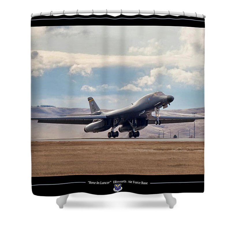 Aviation Shower Curtain featuring the digital art Bone-in Lancer by Peter Chilelli