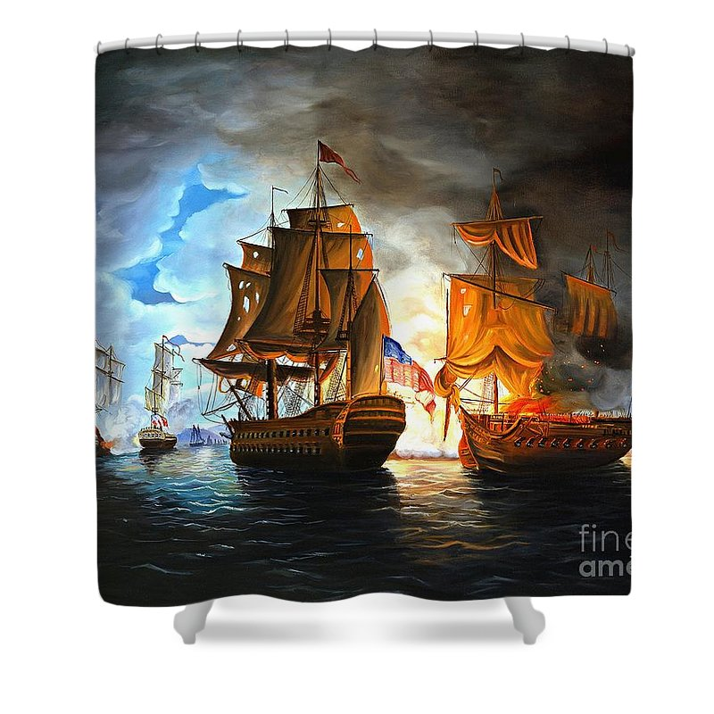 Naval Battle Shower Curtain featuring the painting Bonhomme Richard engaging The Serapis in Battle by Paul Walsh