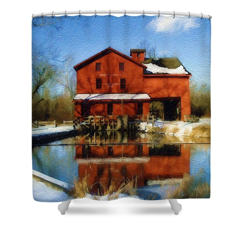 Bonneyville Mill Shower Curtain featuring the photograph Bonneyville In Winter by Sandy MacGowan