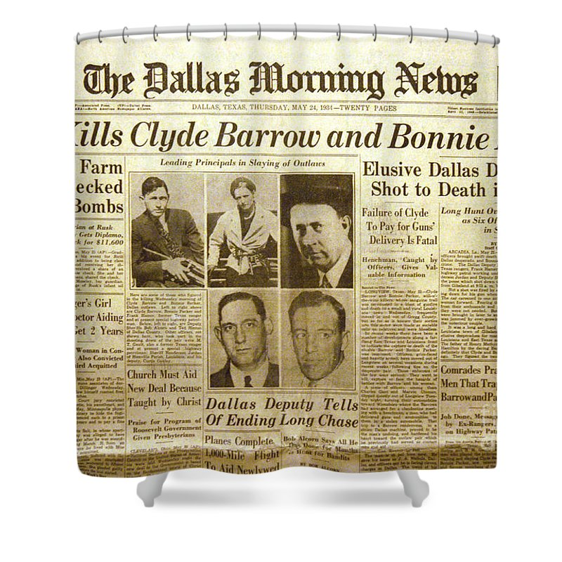 Clyde Barrow Shower Curtain Featuring The Photograph Bonnie And Newspaper By Jon Neidert