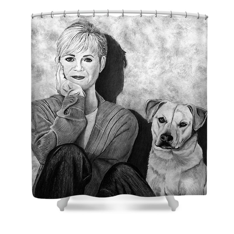 Bonnie Hunt And Charlie Shower Curtain featuring the drawing Bonnie Hunt And Charlie by Peter Piatt