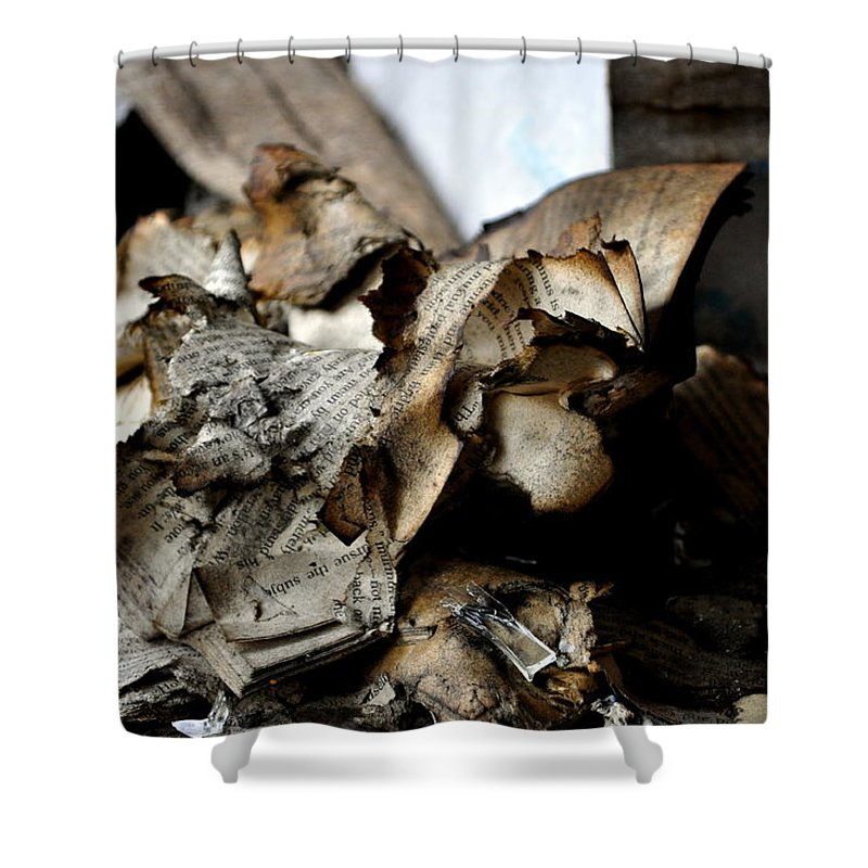 Book Shower Curtain featuring the photograph Book Burnning by Shannon Nickerson
