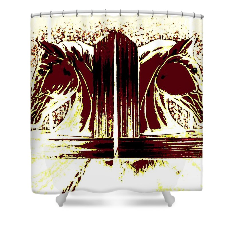Horses Shower Curtain featuring the digital art Bookend Buddies by Will Borden