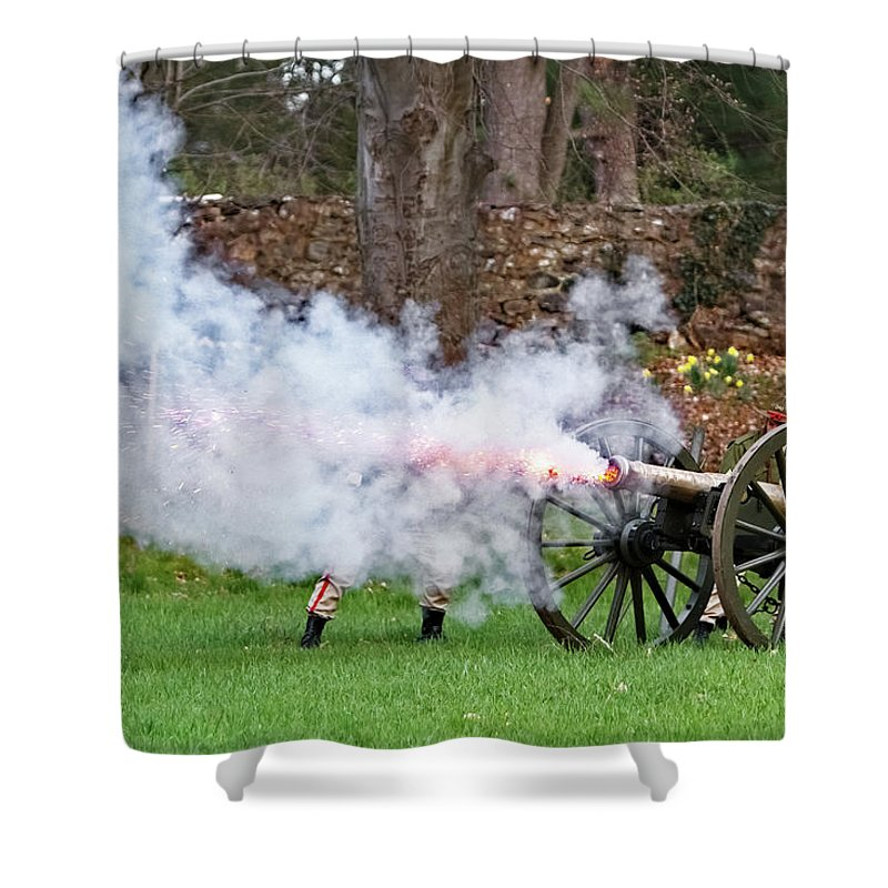 Concord Ma Shower Curtain featuring the photograph Boom by Larry Richardson
