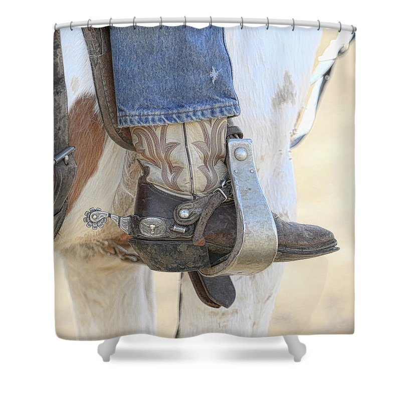 Boot Shower Curtain featuring the photograph Boot And Spur by Steve McKinzie