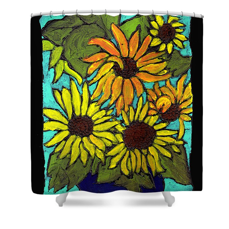 Flowers Shower Curtain featuring the painting Boquet Of Sunshine by Wayne Potrafka