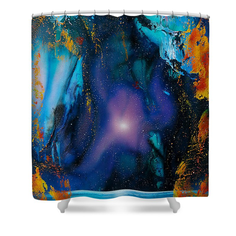 Nebula Caribe Shower Curtain featuring the painting Borealis by Angel Ortiz