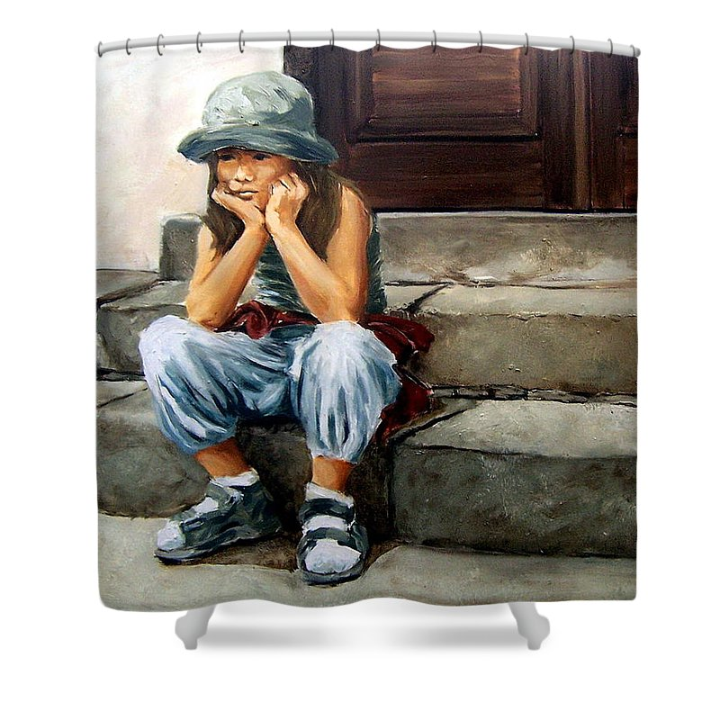 Figurative Little Girl Portrait Realism Child Kid Shower Curtain featuring the painting Bored by Natalia Tejera