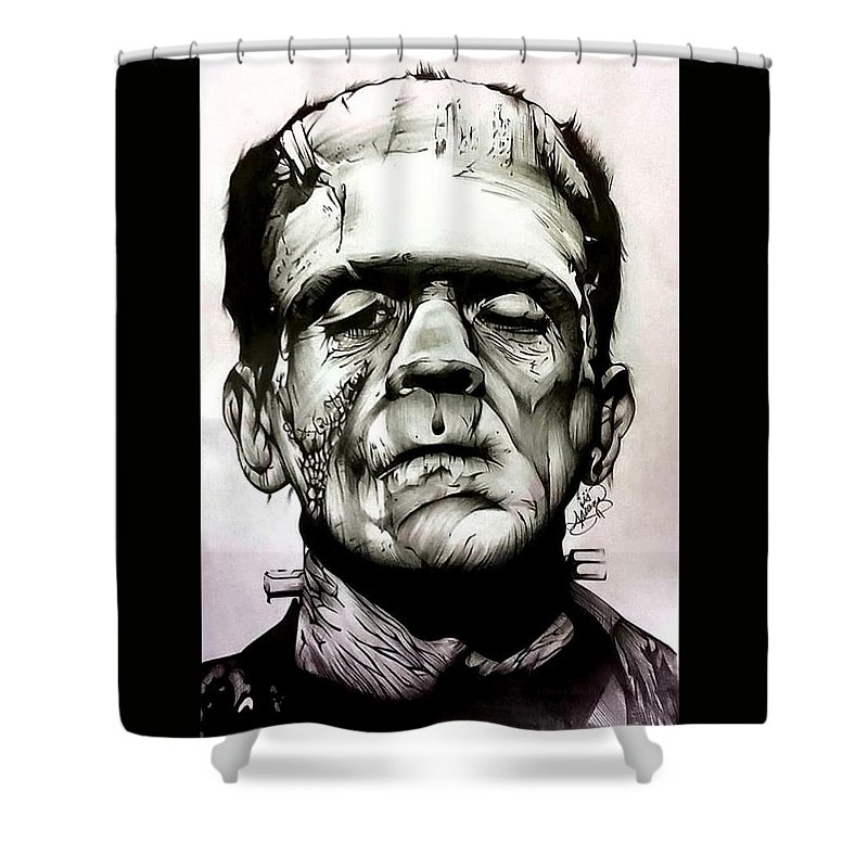 Boris Shower Curtain Featuring The Drawing Karloff As Frankenstein By Ariana Bannister