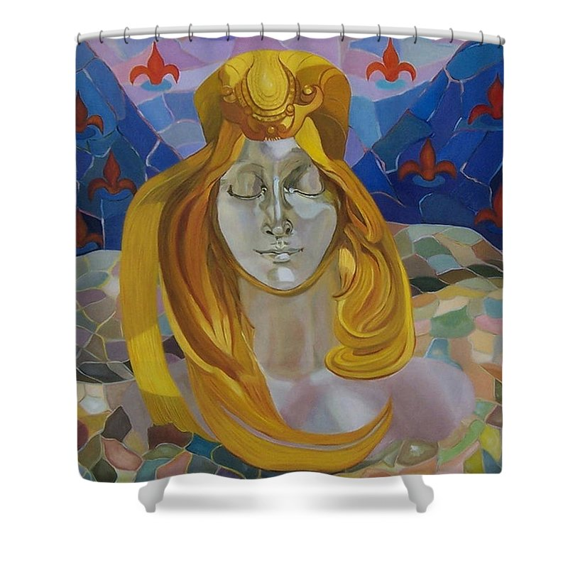 Figurative Shower Curtain featuring the painting Born-after Mucha by Antoaneta Melnikova- Hillman
