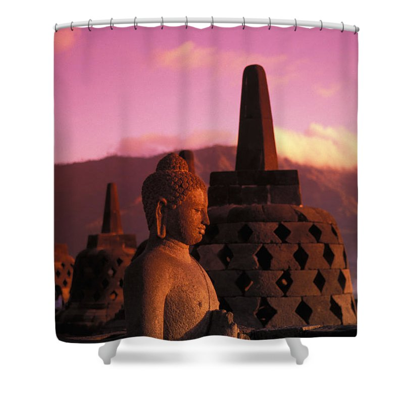 Ancient Shower Curtain featuring the photograph Borobudor Temple by Gloria & Richard Maschmeyer - Printscapes
