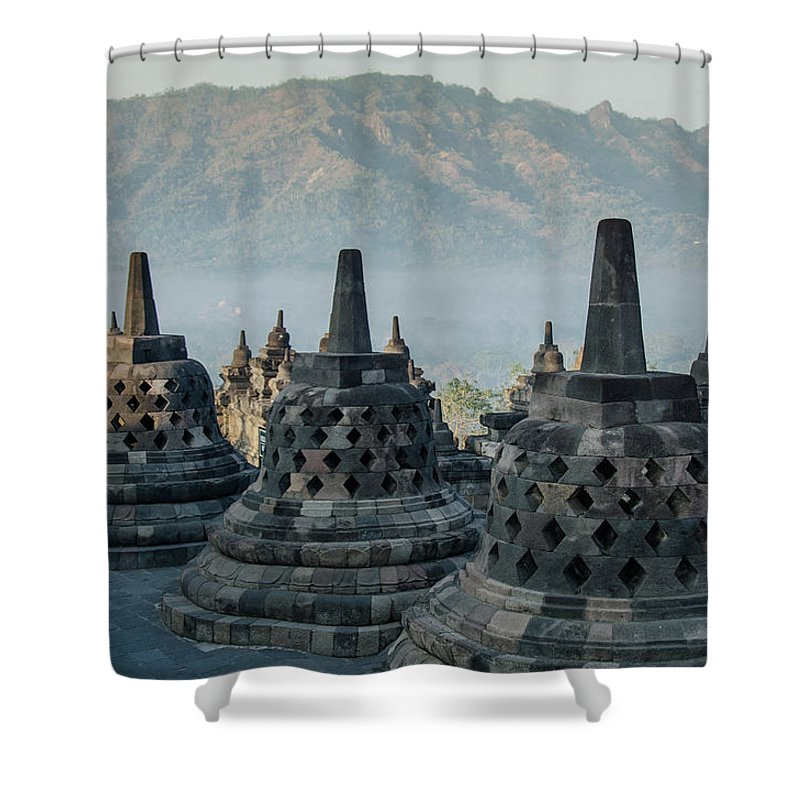 Borobudur Shower Curtain featuring the photograph Borobudur by Richard Parsons