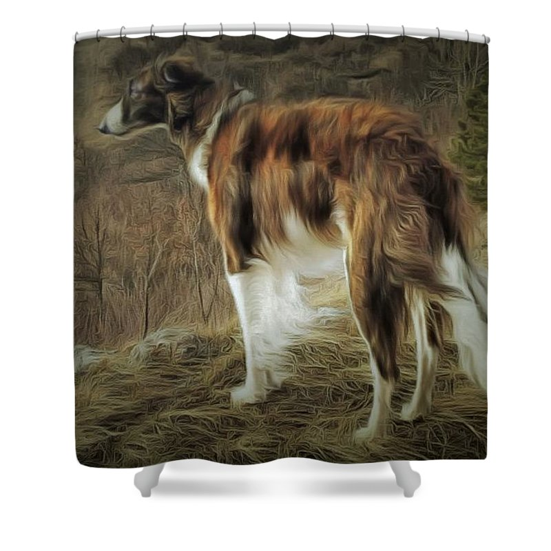 Dog Shower Curtain featuring the painting Borzoi Brindle by Janice MacLellan