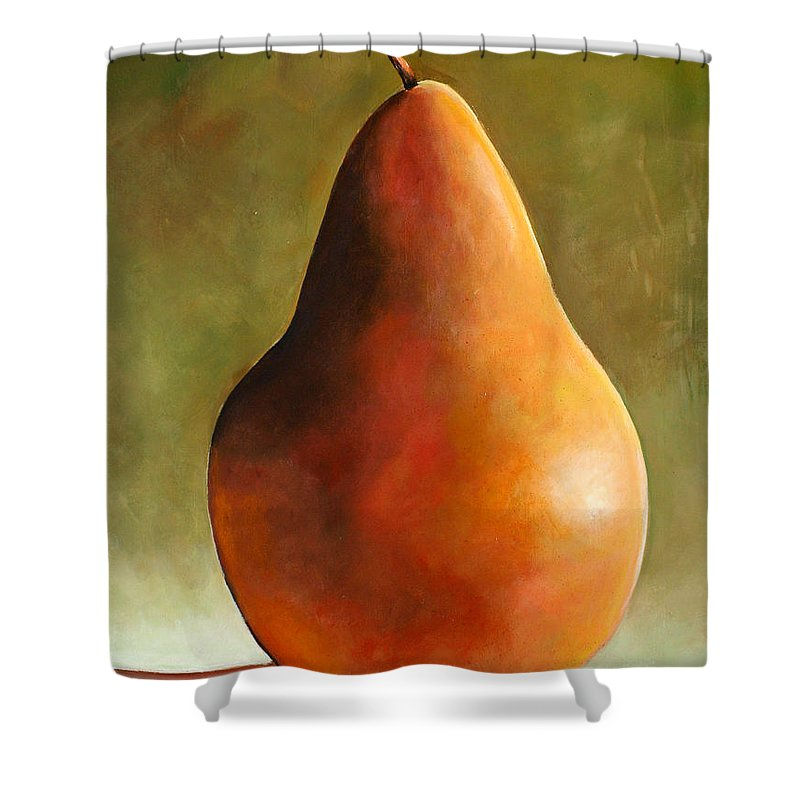 Pear Shower Curtain featuring the painting Bosc Pear by Toni Grote