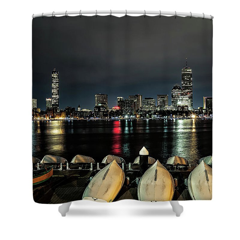 Boston Ma Shower Curtain featuring the photograph Boston Along The Charles River by Larry Richardson