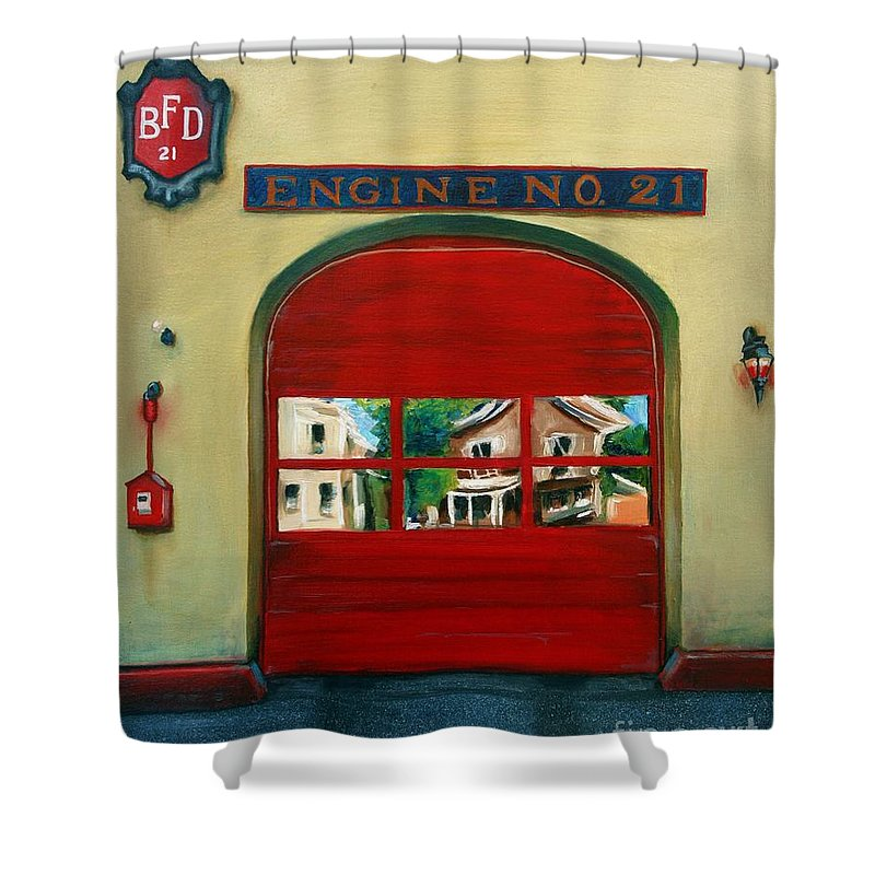 Fire House Shower Curtain featuring the painting Boston Fire Engine 21 by Paul Walsh