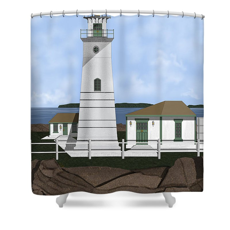 Lighthouse Shower Curtain featuring the painting Boston Harbor Lighthouse On Brewster Island by Anne Norskog
