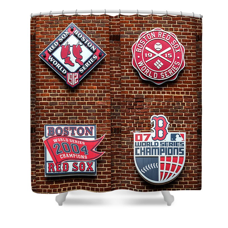 Red Sox Shower Curtain Featuring The Photograph Boston World Series Emblems By Diane Diederich