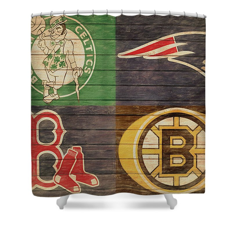 Boston Sports Teams Barn Door Shower Curtain For Sale By