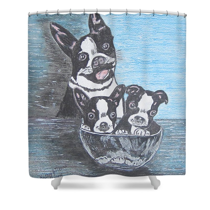Boston Terrier Shower Curtain featuring the painting Boston Terrier Mom And Pups by Kathy Marrs Chandler