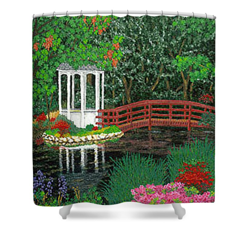 Art Shower Curtain featuring the painting Botanical Garden Park Walk Pink Azaleas Bridge Gazebo Flowering Trees Pond by Baslee Troutman