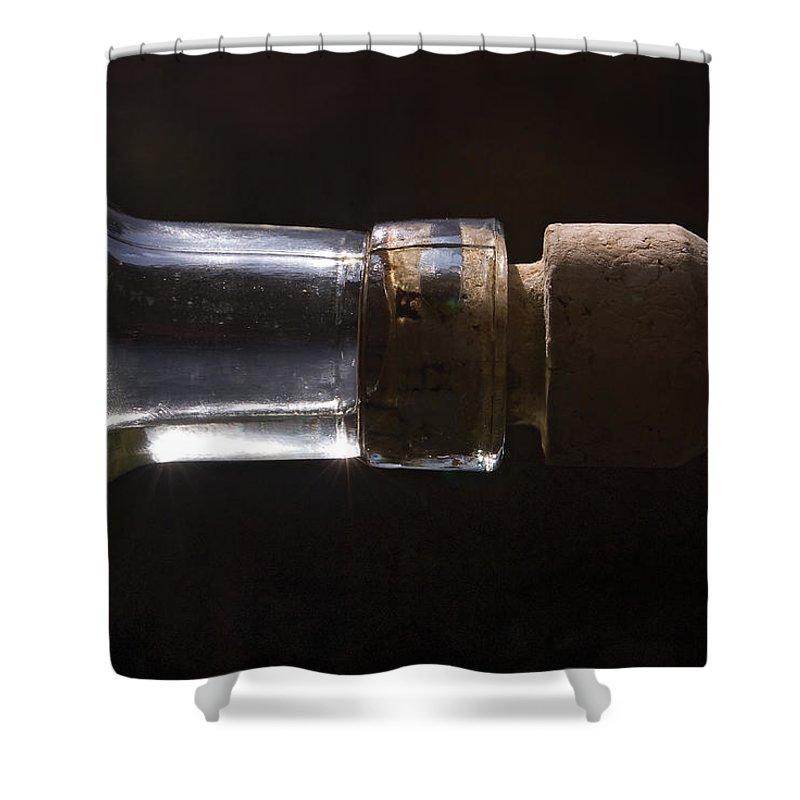 Cork Shower Curtain featuring the photograph Bottle And Cork-1 by Steve Somerville
