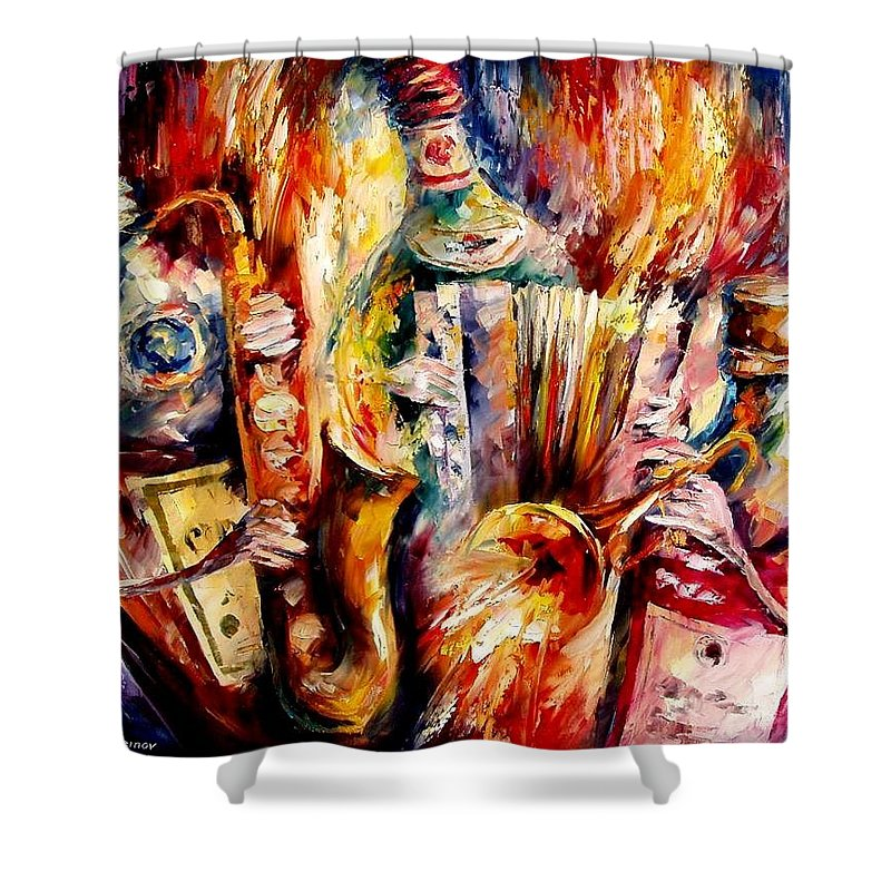 Bottle Jazz Shower Curtain featuring the painting Bottle Jazz by Leonid Afremov