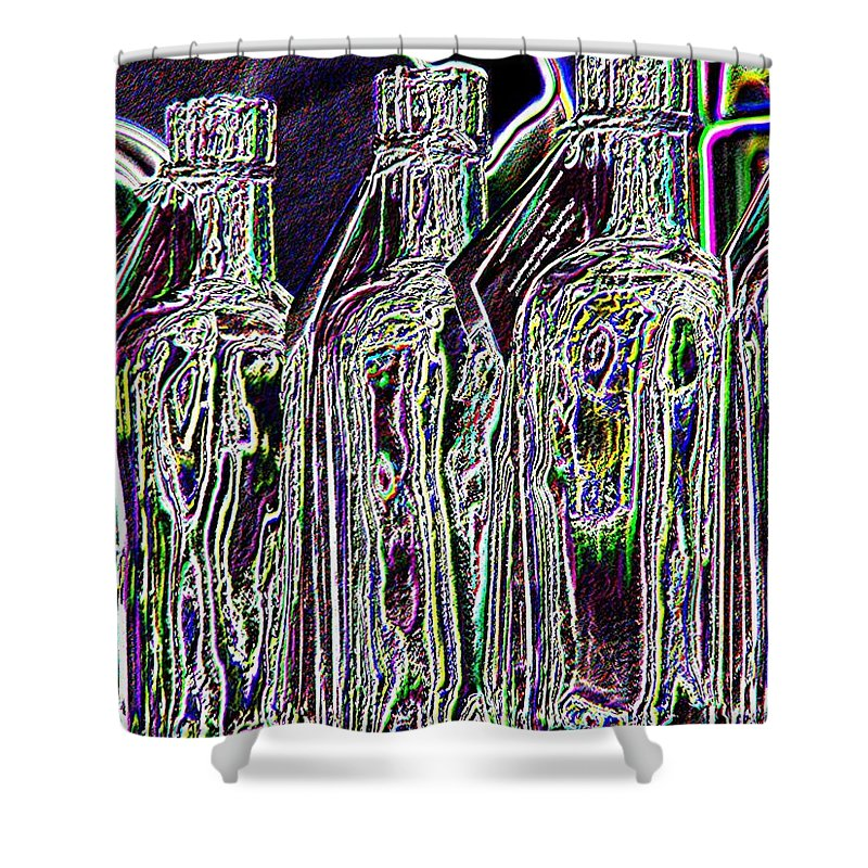 Bottles Shower Curtain featuring the digital art Bottles by Tim Allen