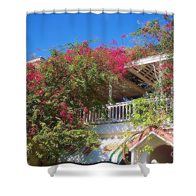 Flowers Shower Curtain featuring the photograph Bougainvillea Villa by Debbi Granruth
