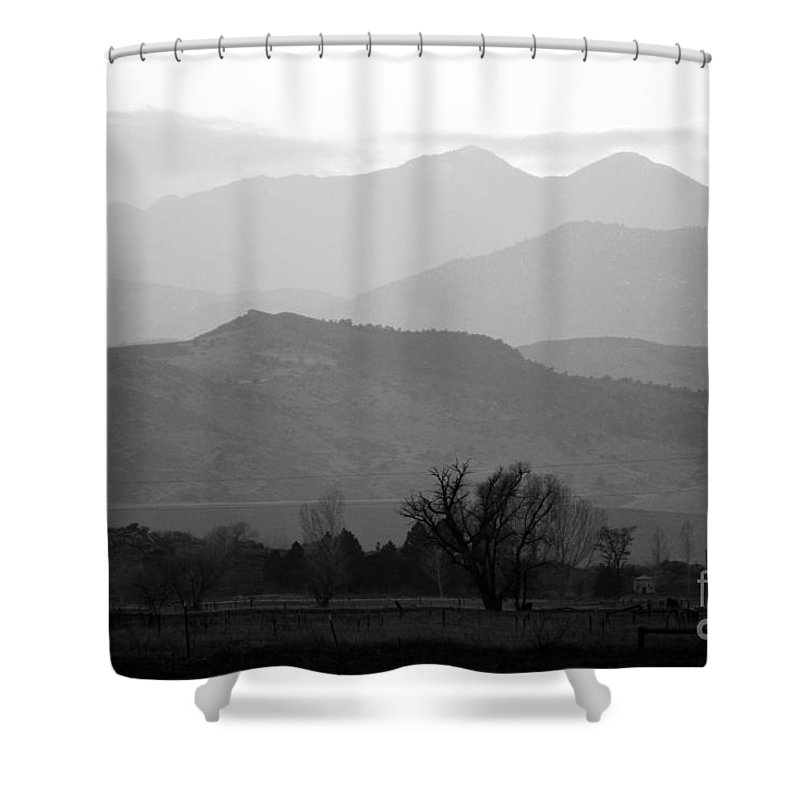 Foothills Shower Curtain featuring the photograph Boulder County Foothills to the Rockies BW by James BO Insogna