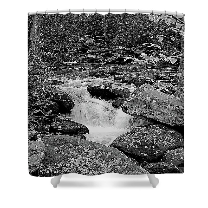 Rocks Shower Curtain featuring the digital art Boulder Creek by DigiArt Diaries by Vicky B Fuller