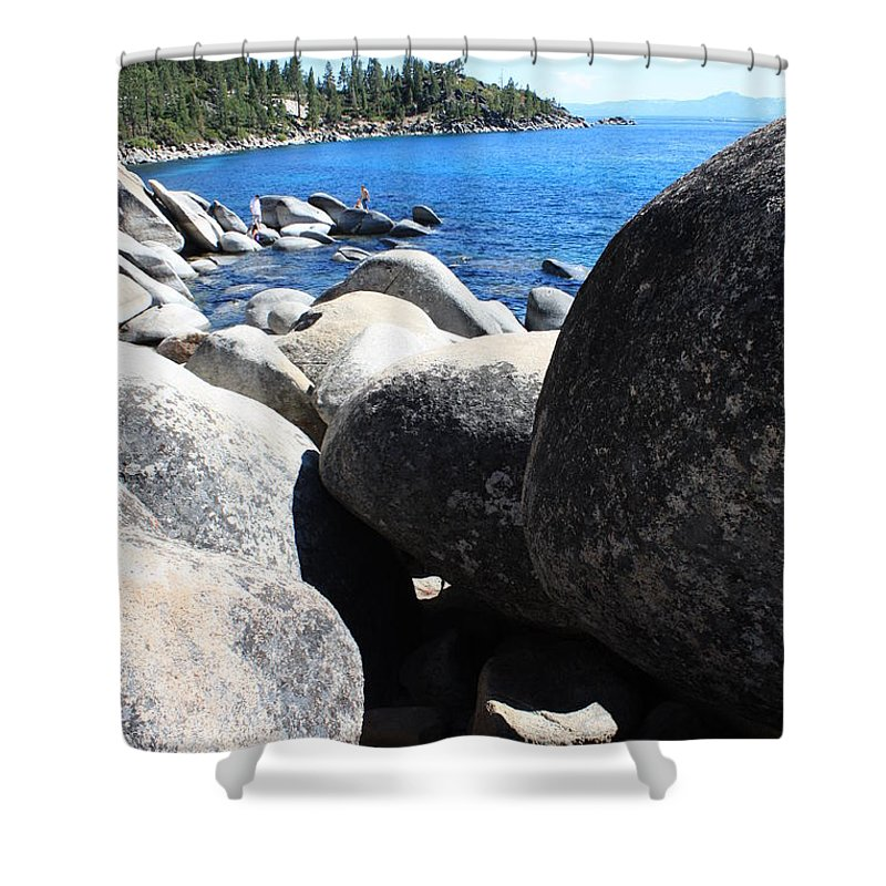 Boulders Shower Curtain featuring the photograph Boulders On Lake Tahoe by Carol Groenen