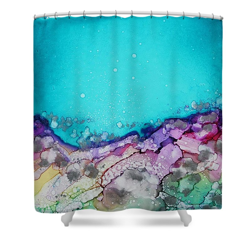 Abstract Shower Curtain featuring the painting Bounce by Ruth Kamenev