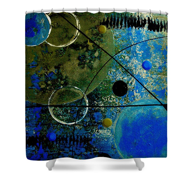 Abstract Shower Curtain featuring the painting Bouncer by Ruth Palmer