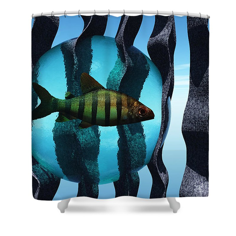 Surreal Shower Curtain featuring the digital art Bound by Richard Rizzo