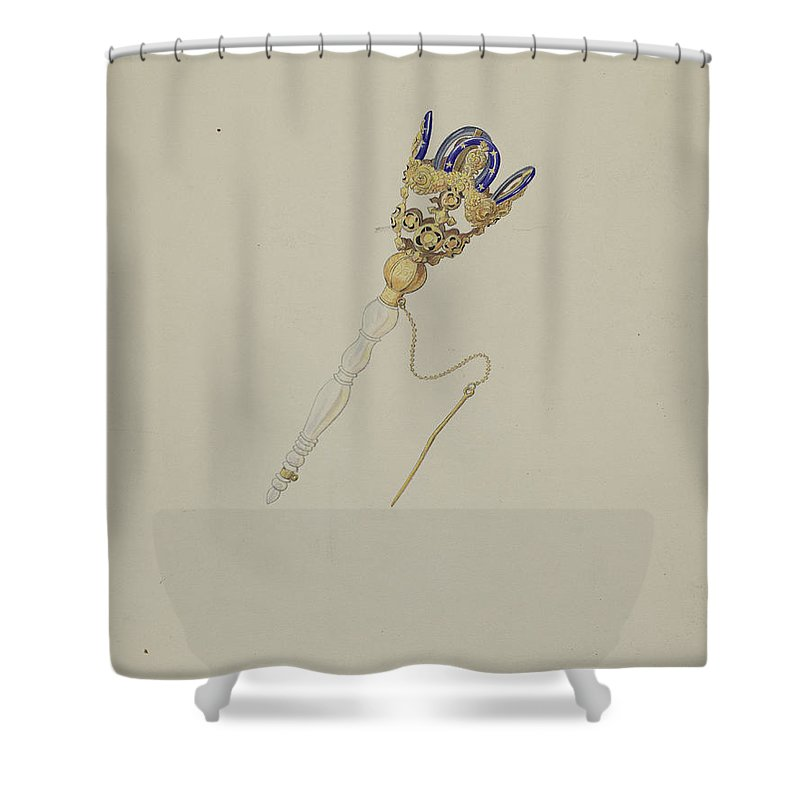 Shower Curtain featuring the drawing Bouquet Holder by Doris Beer