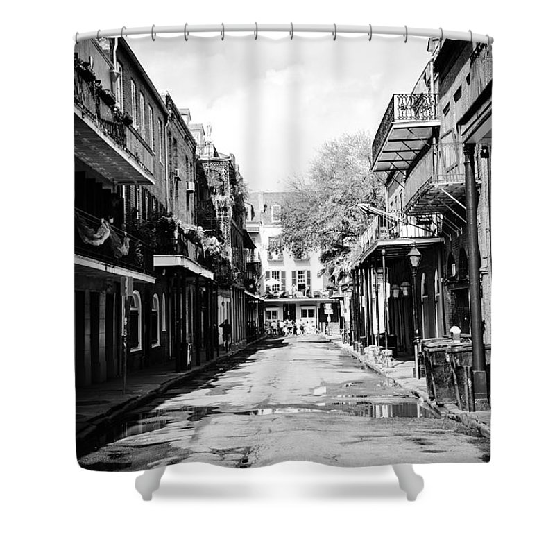 New Orleans Alley Chris Frasier Bourbon Shower Curtain featuring the photograph Bourbon Alley by Chris Frasier