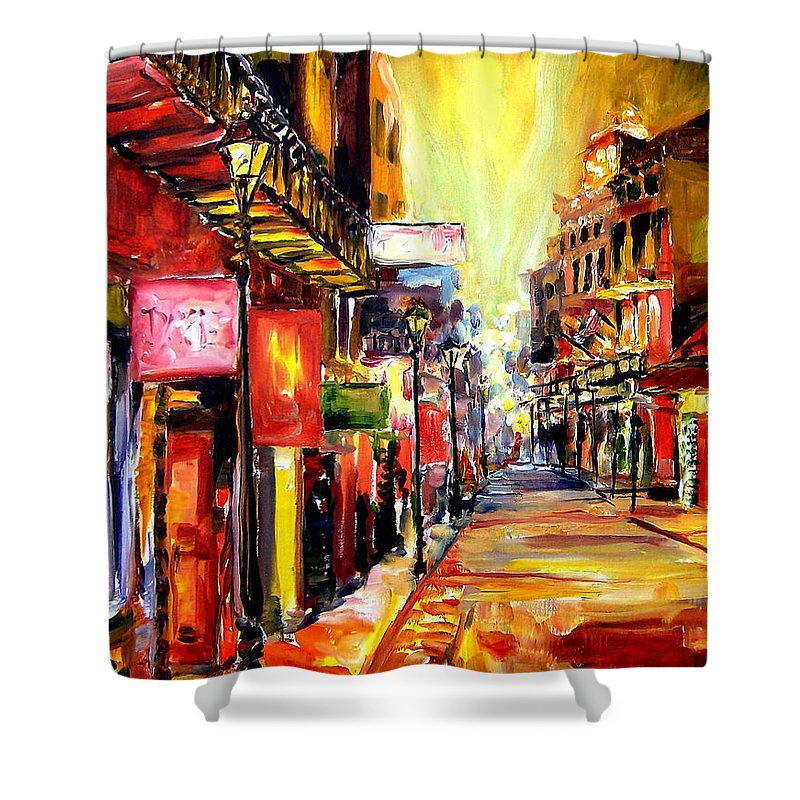 New Orleans Shower Curtain featuring the painting Bourbon Street Dazzle by Diane Millsap