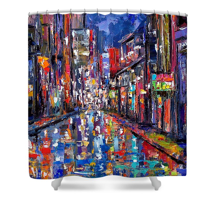 New Orleans Shower Curtain featuring the painting Bourbon Street by Debra Hurd