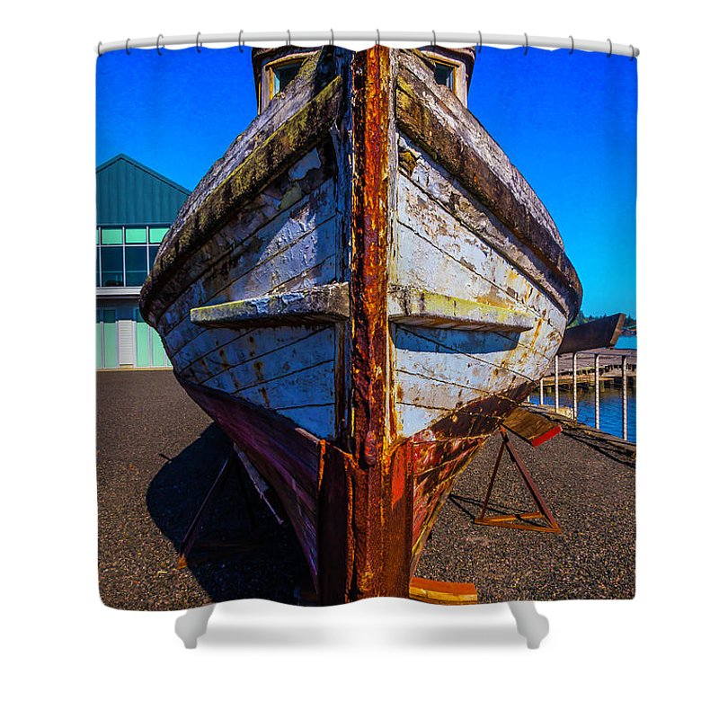 Old Shower Curtain featuring the photograph Bow Of Old Worn Boat by Garry Gay